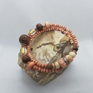 Vintage Wood Bead wrap Bracelet